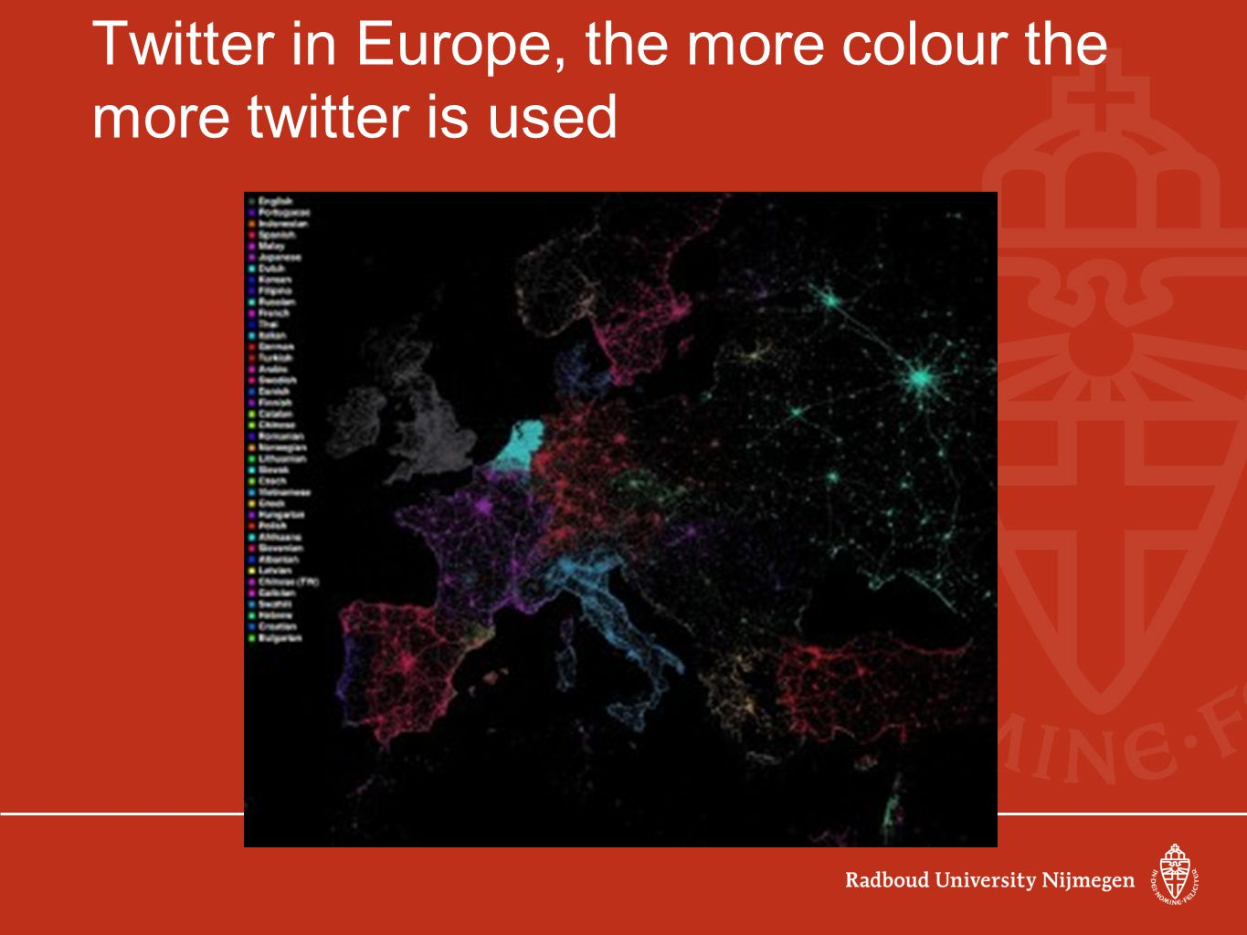 Twitter in Europe, the more colour the more twitter is used