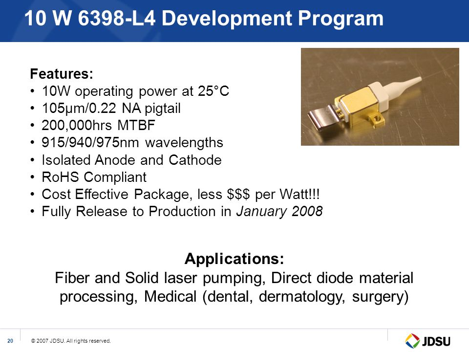 10 W 6398-L4 Development Program