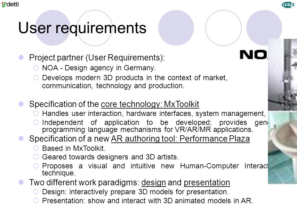User requirements Project partner (User Requirements):