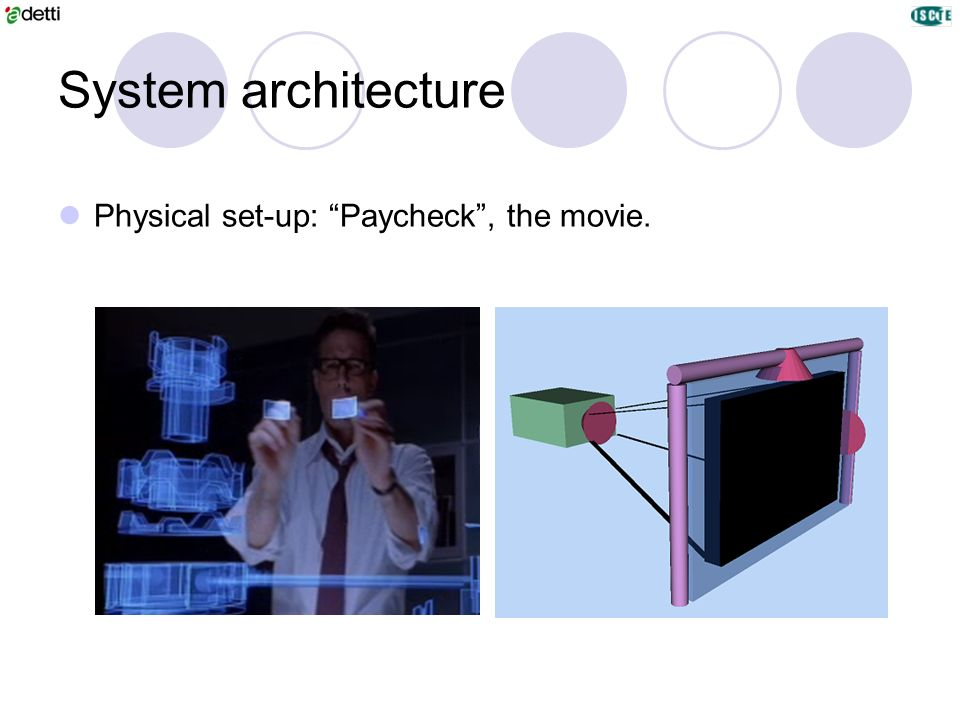 System architecture Physical set-up: Paycheck , the movie.