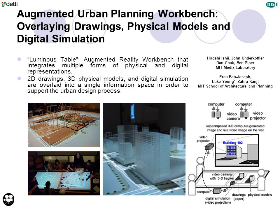 Augmented Urban Planning Workbench: Overlaying Drawings, Physical Models and Digital Simulation