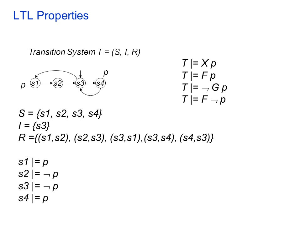 LTL Properties T |= X p T |= F p T |=  G p T |= F  p