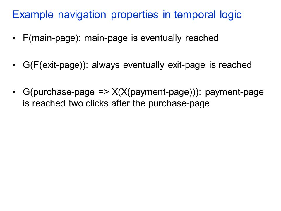 Example navigation properties in temporal logic