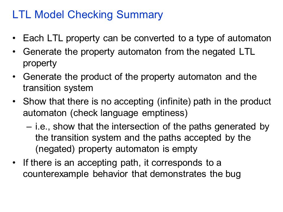 LTL Model Checking Summary