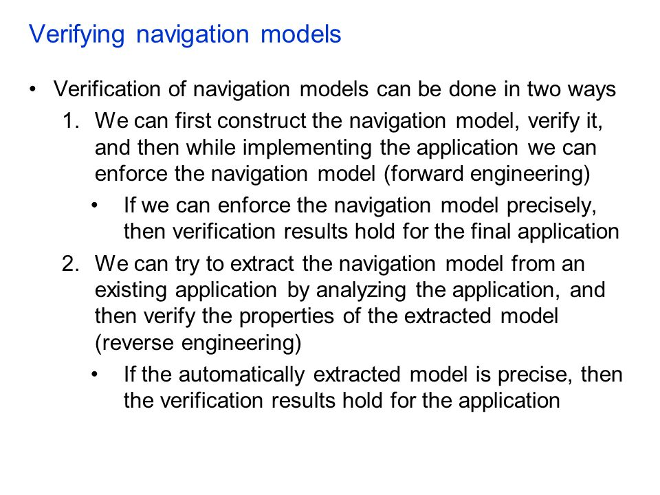 Verifying navigation models