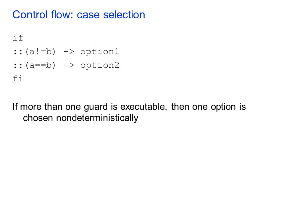 Control flow: case selection