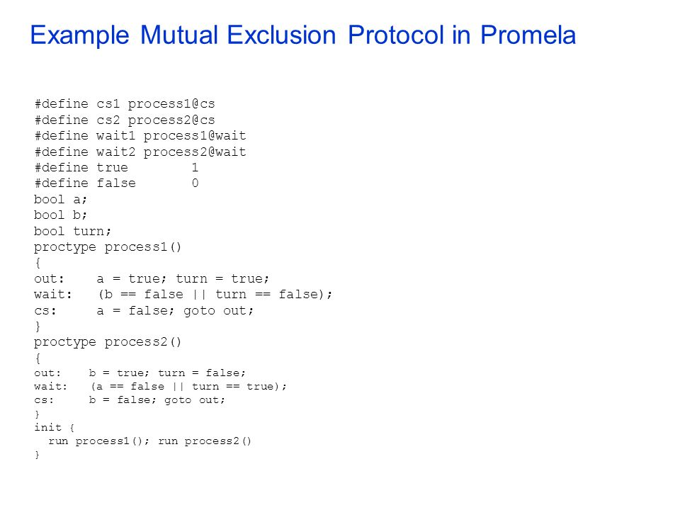 Example Mutual Exclusion Protocol in Promela