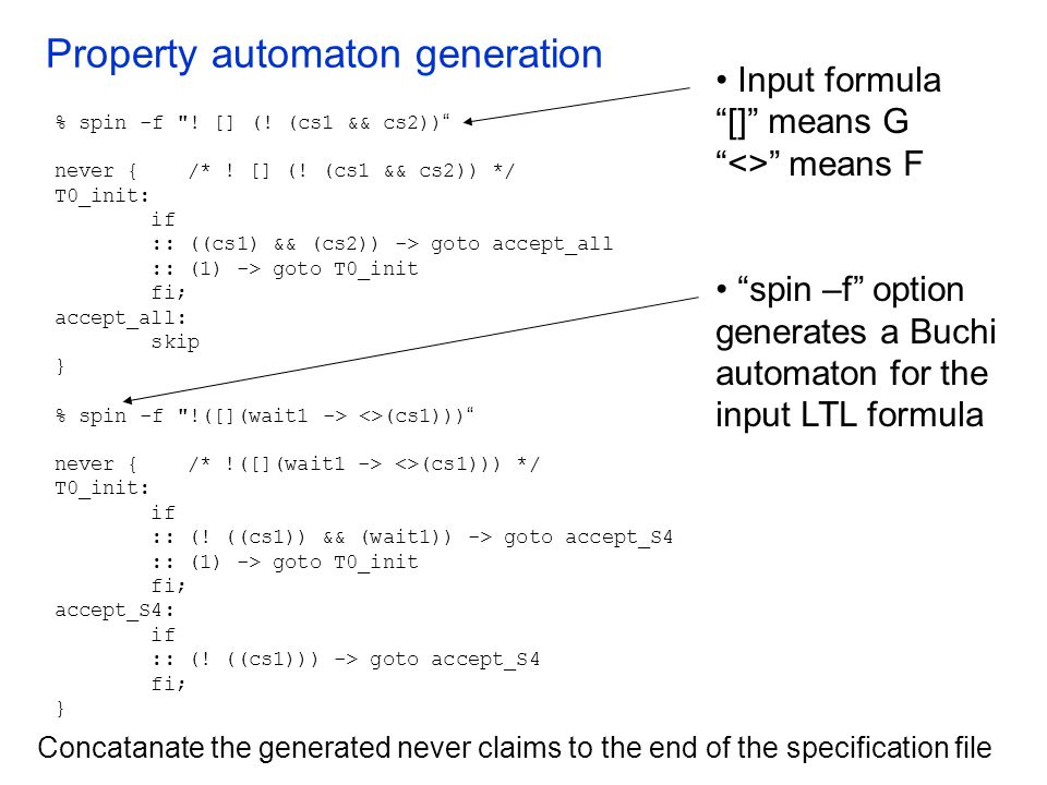Property automaton generation