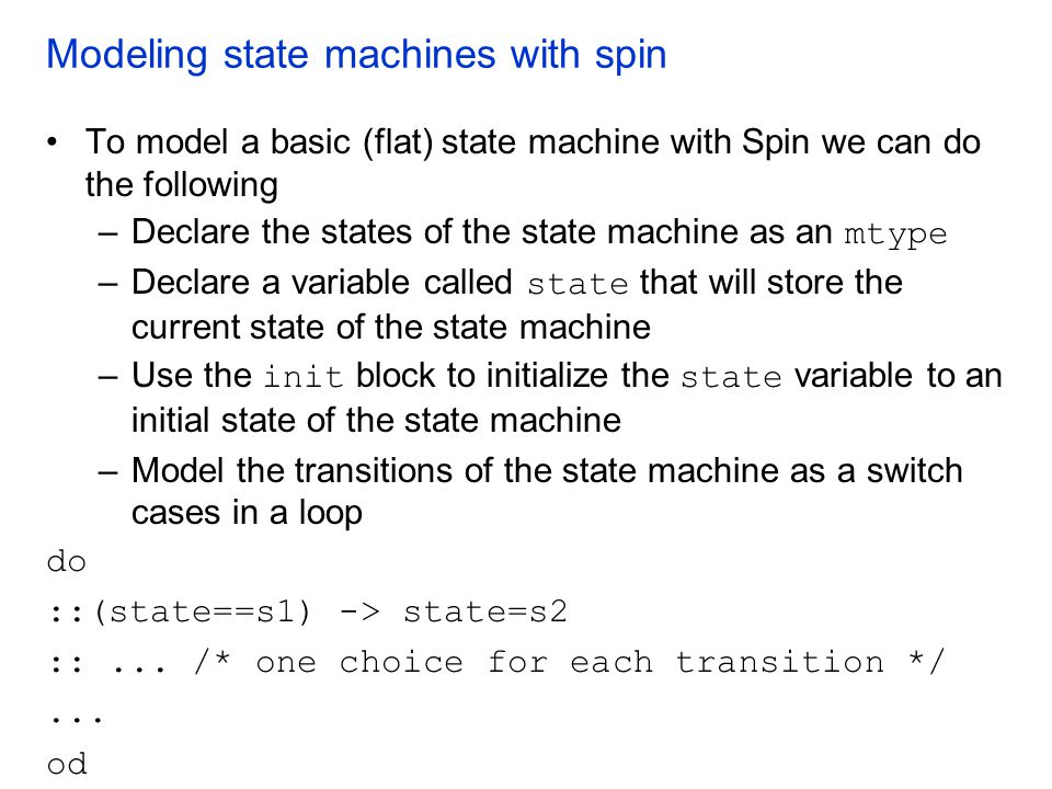 Modeling state machines with spin