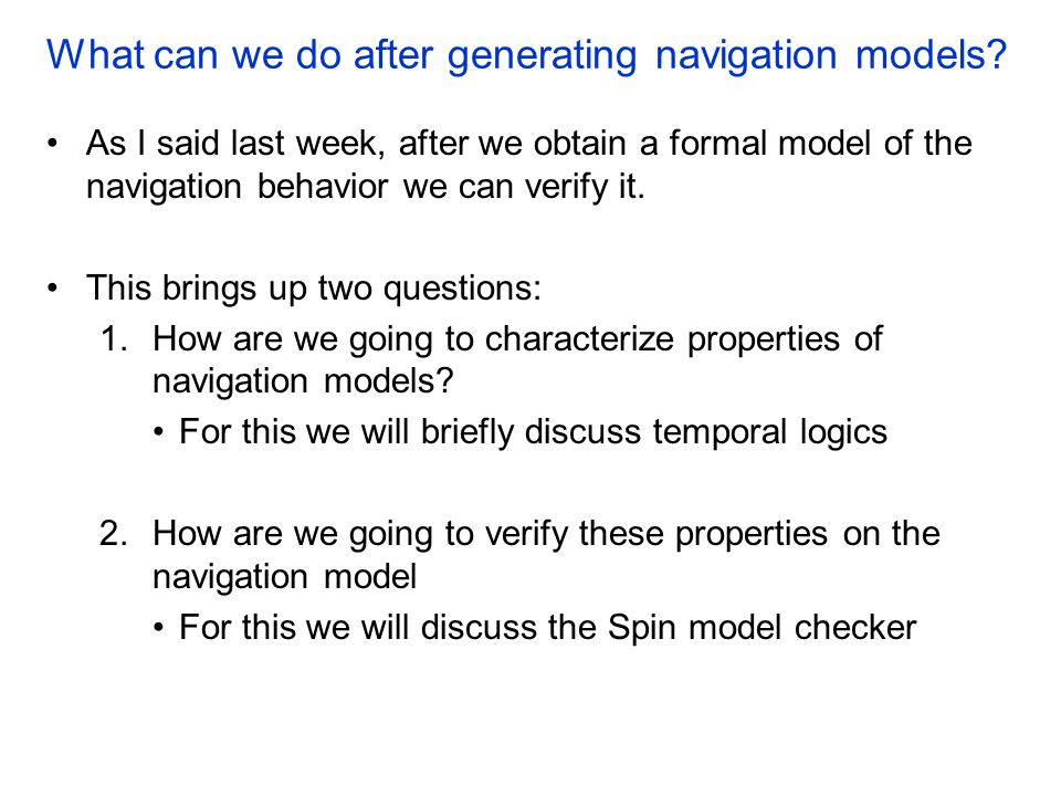 What can we do after generating navigation models