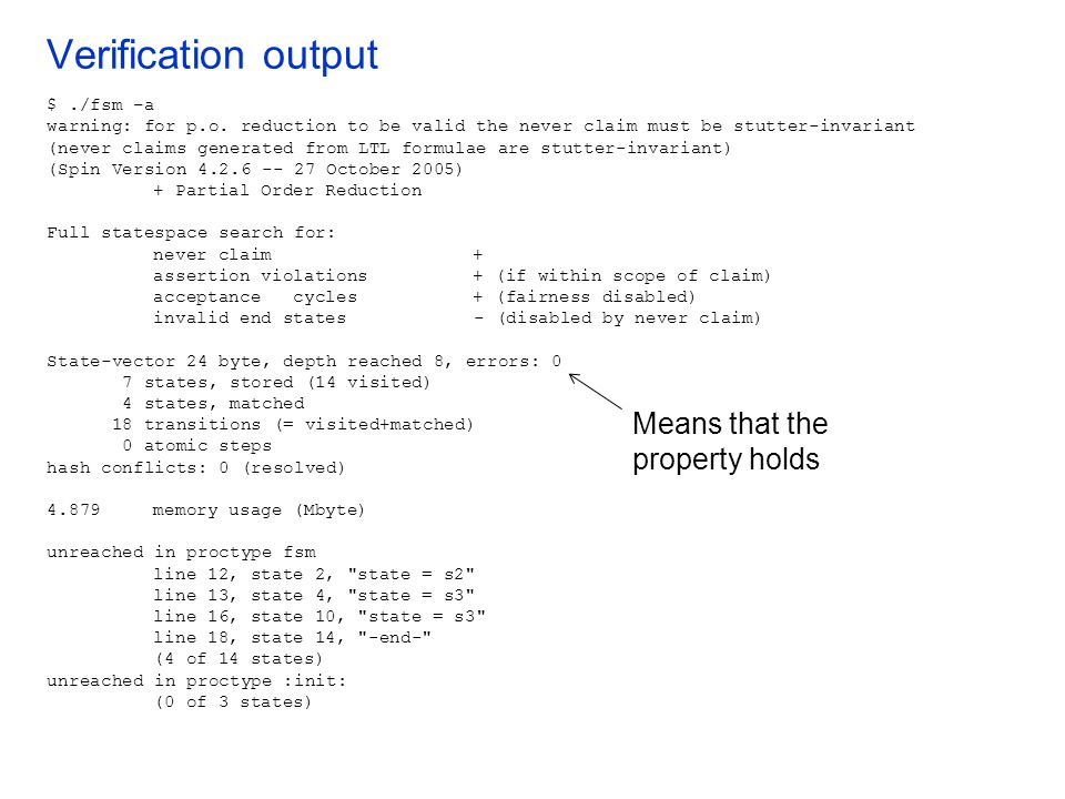 Verification output Means that the property holds $ ./fsm –a
