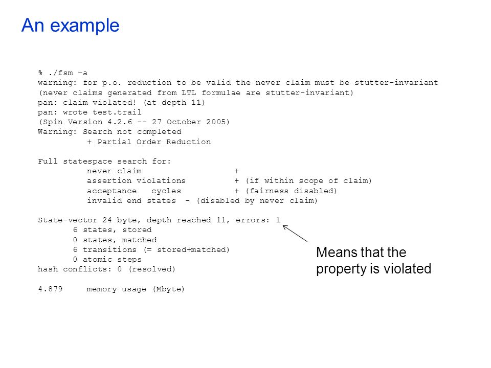 An example Means that the property is violated % ./fsm –a