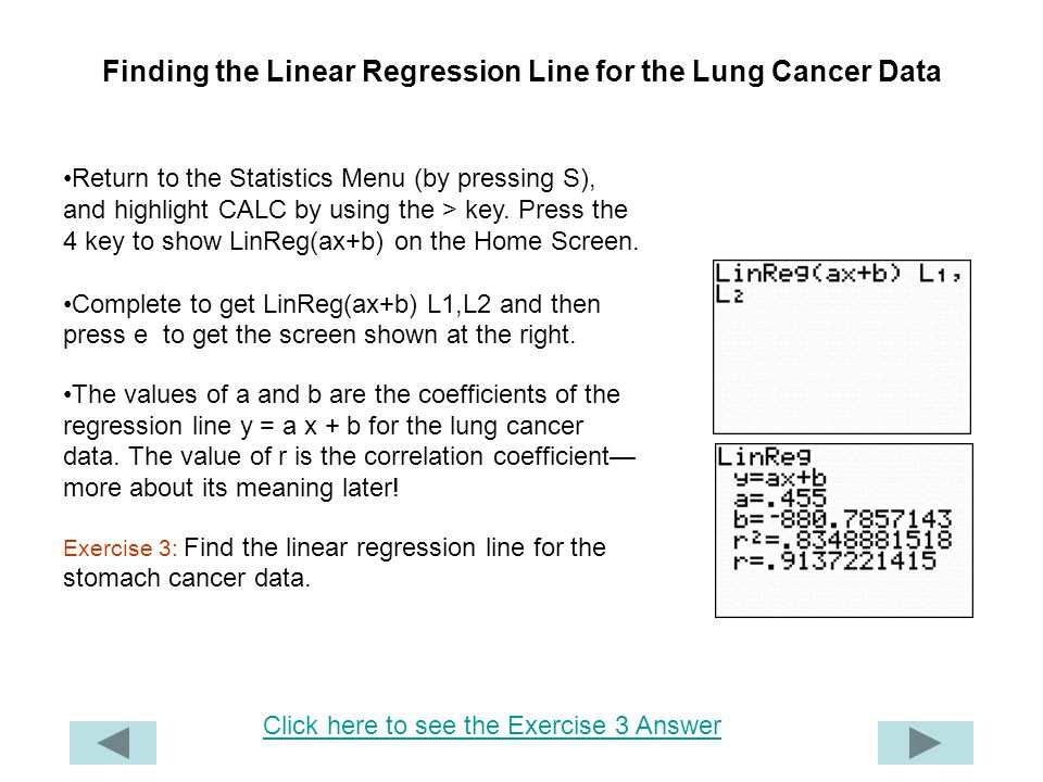 Finding the Linear Regression Line for the Lung Cancer Data