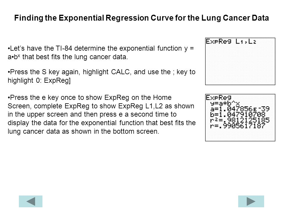 Finding the Exponential Regression Curve for the Lung Cancer Data