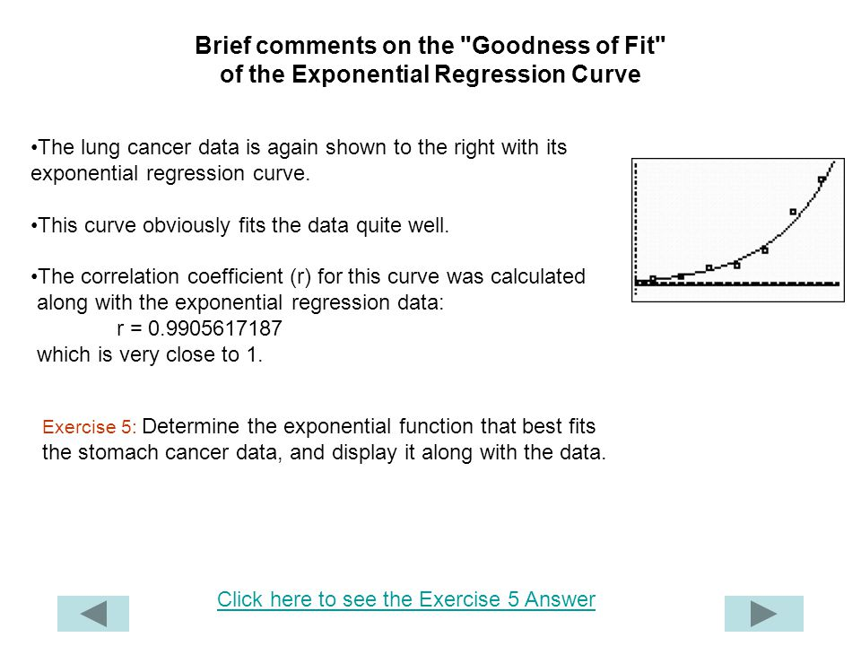 Brief comments on the Goodness of Fit of the Exponential Regression Curve