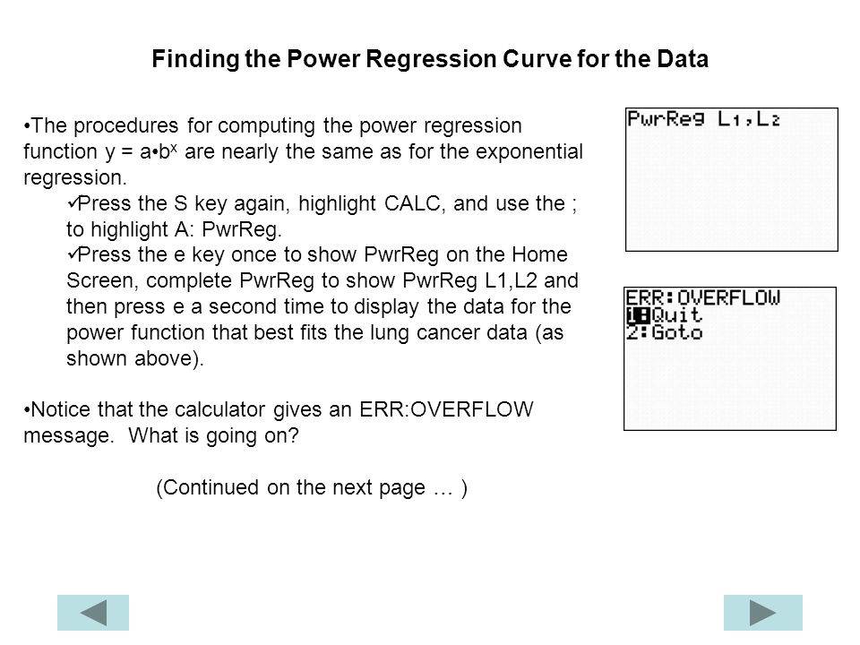 Finding the Power Regression Curve for the Data