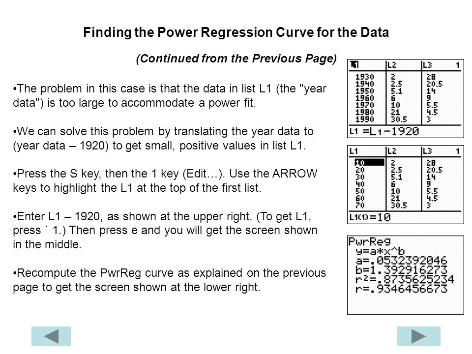 Finding the Power Regression Curve for the Data (Continued from the Previous Page)