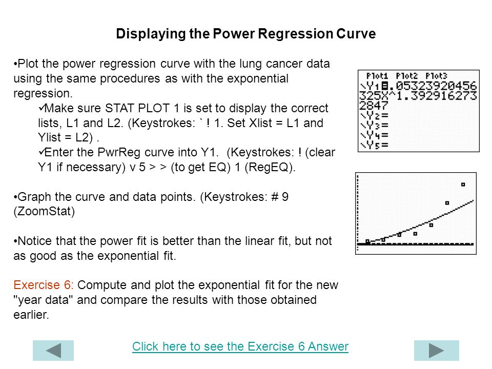 Displaying the Power Regression Curve
