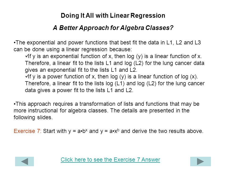 Doing It All with Linear Regression A Better Approach for Algebra Classes