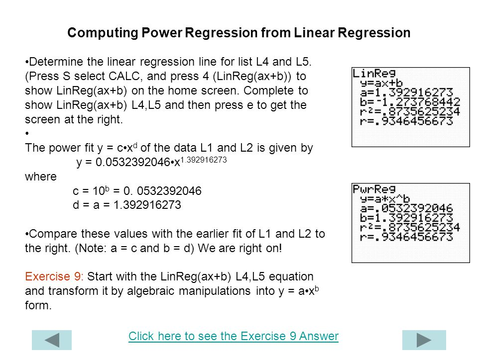 Computing Power Regression from Linear Regression