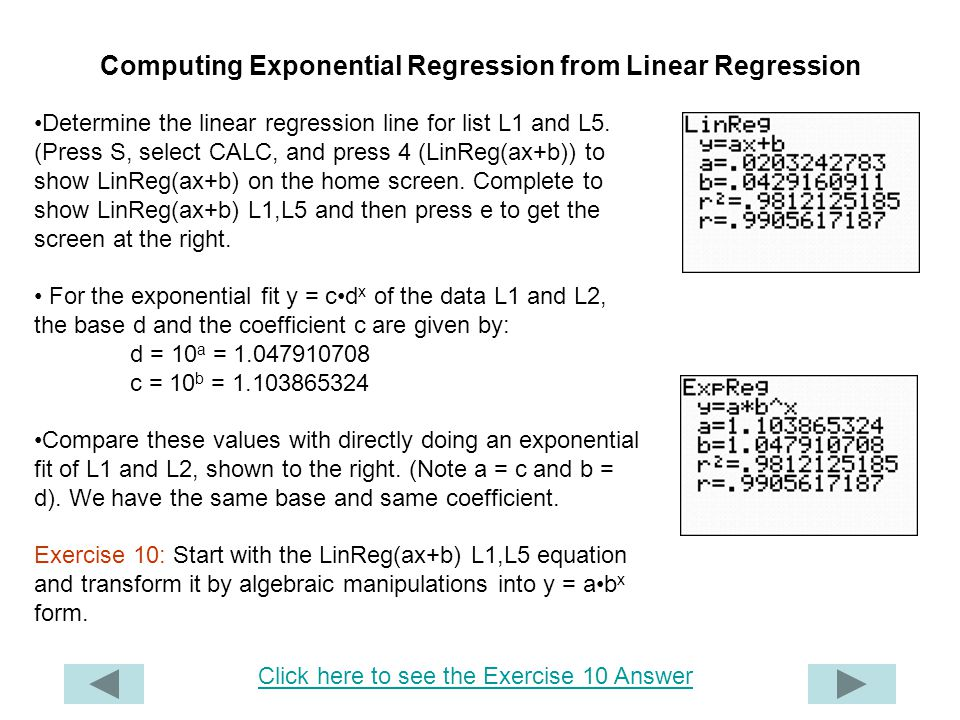 Computing Exponential Regression from Linear Regression