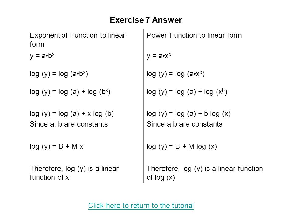 Exercise 7 Answer Exponential Function to linear form