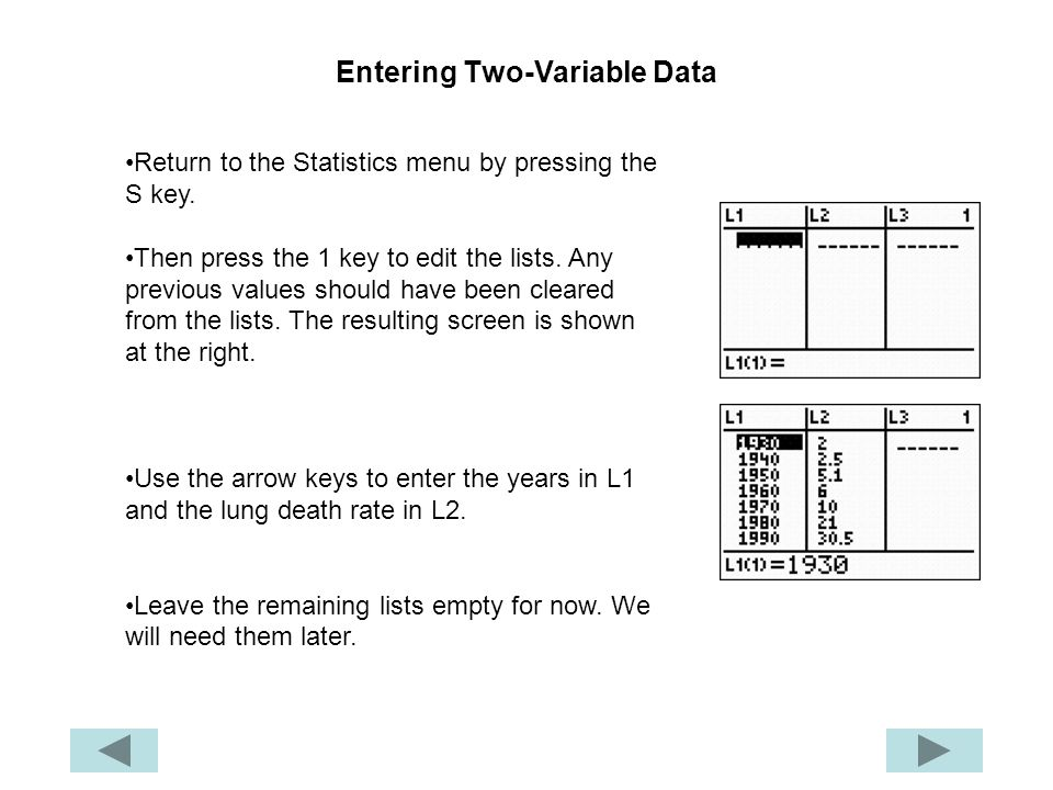 Entering Two-Variable Data
