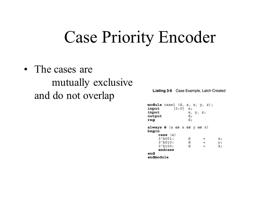 Case Priority Encoder The cases are mutually exclusive and do not overlap
