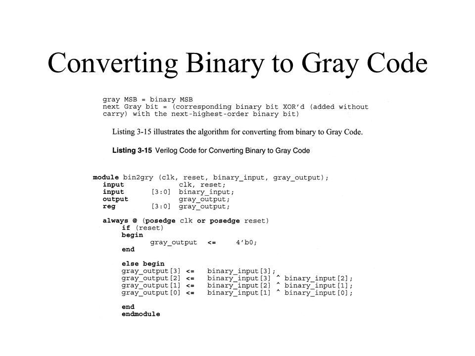 Converting Binary to Gray Code