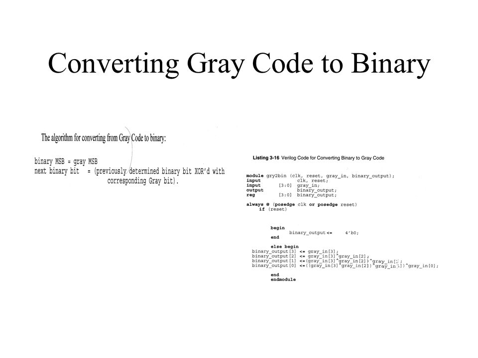 Converting Gray Code to Binary