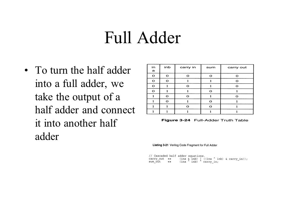 Full Adder To turn the half adder into a full adder, we take the output of a half adder and connect it into another half adder.