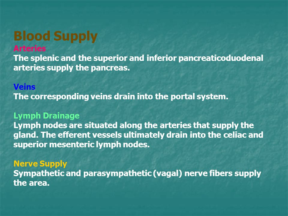 Blood Supply Arteries. The splenic and the superior and inferior pancreaticoduodenal arteries supply the pancreas.