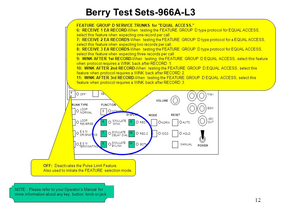 Berry Test Sets-966A-L3 FEATURE GROUP D SERVICE TRUNKS for EQUAL ACCESS.