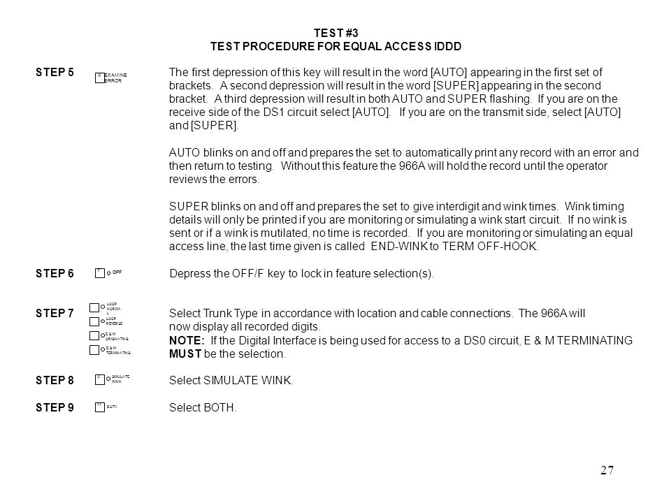 TEST PROCEDURE FOR EQUAL ACCESS IDDD