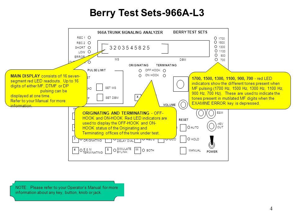 Berry Test Sets-966A-L3 966A TRUNK SIGNALING ANALYZER. BERRY TEST SETS. REC 1. REC 2. SHORT. LOW.