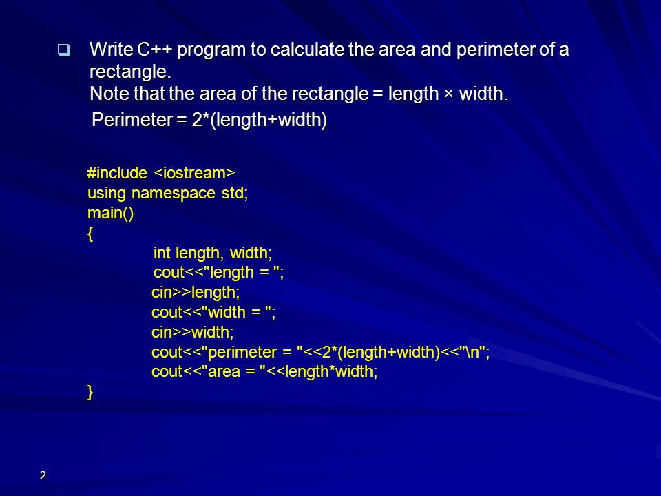 write a c program to find the perimeter of a rectangle