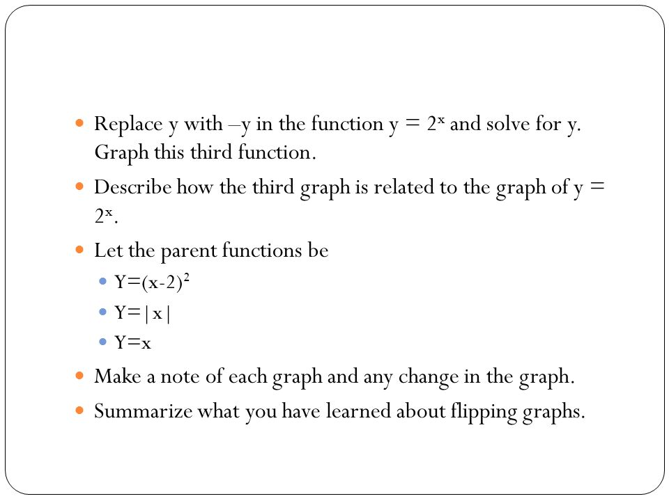 Describe how the third graph is related to the graph of y = 2x.