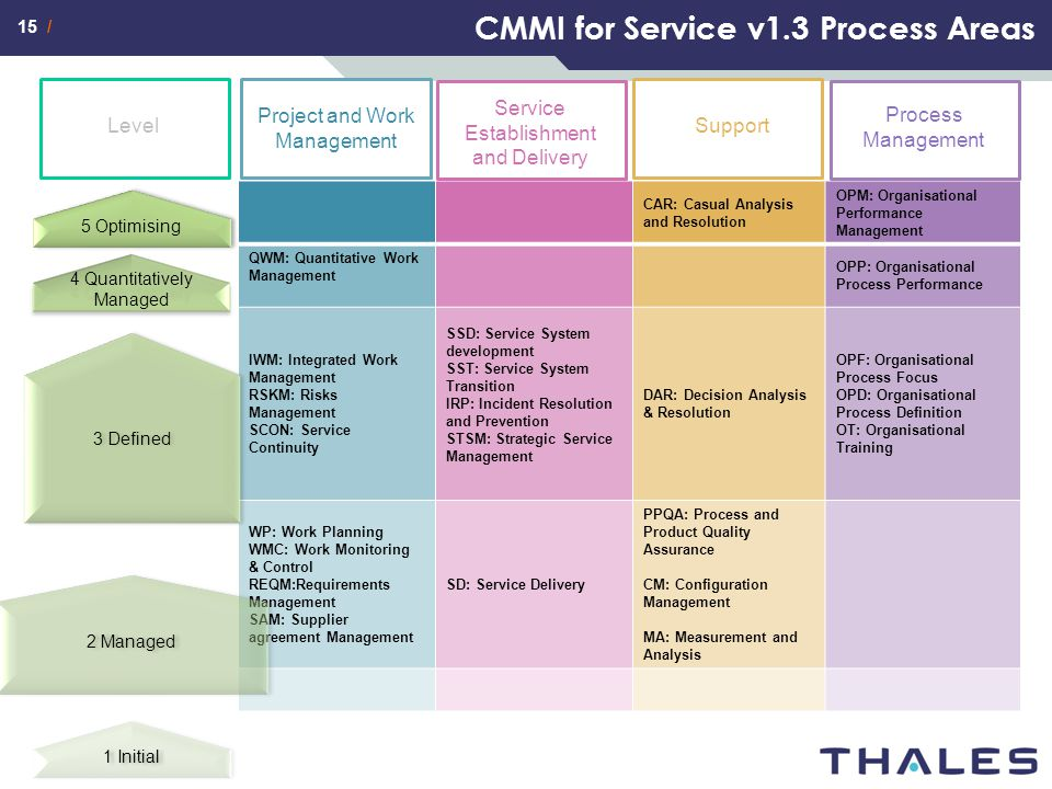 CMMI for Service v1.3 Process Areas