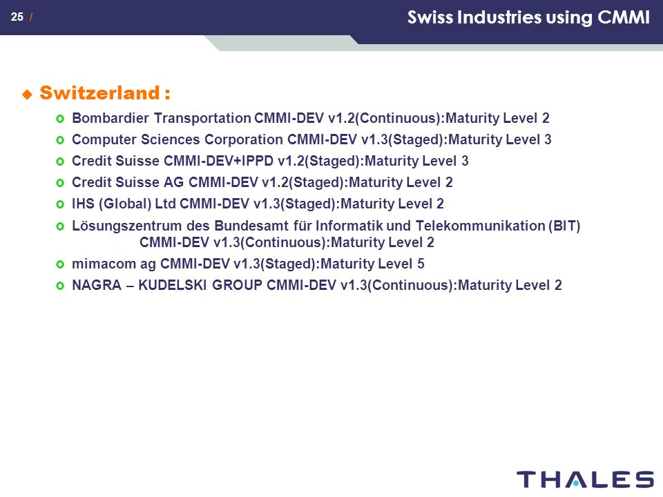 Swiss Industries using CMMI