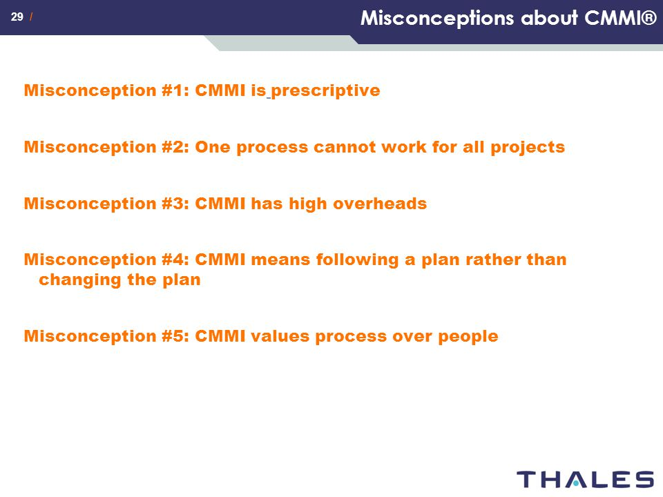 Misconceptions about CMMI®