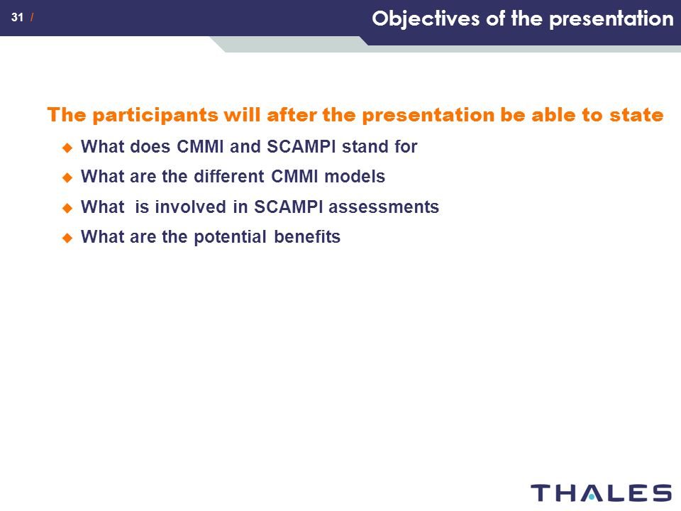 Objectives of the presentation