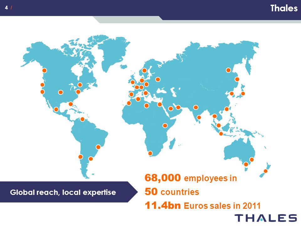 68,000 employees in 50 countries 11.4bn Euros sales in 2011 Thales