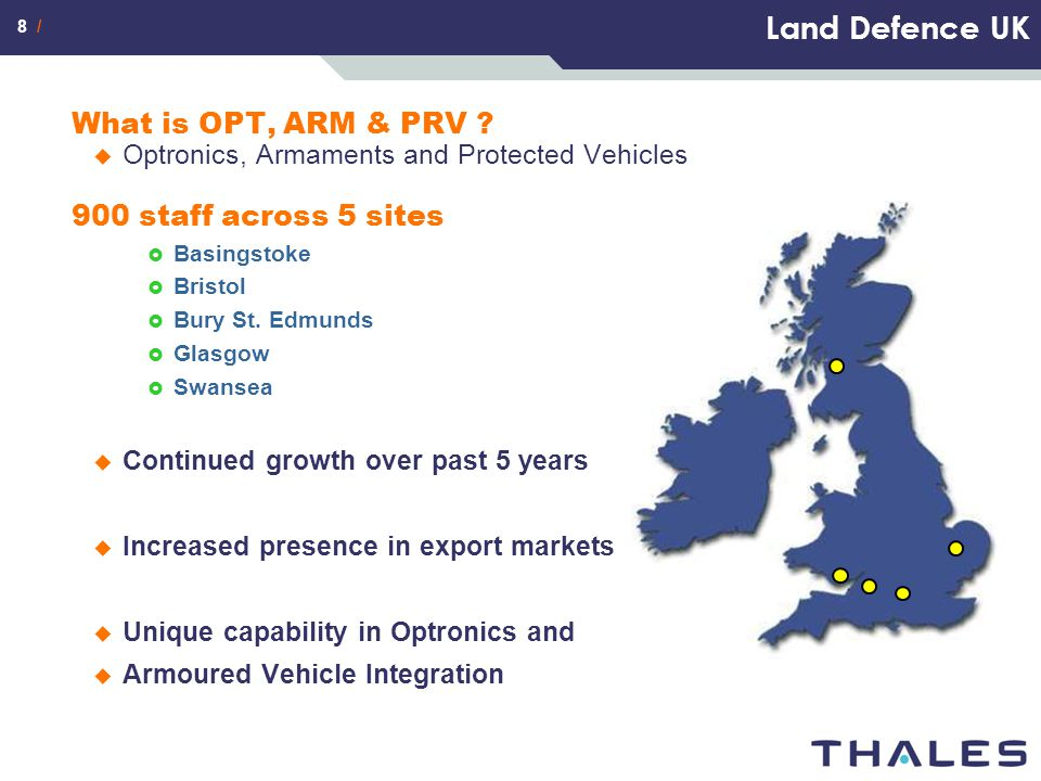 Land Defence UK What is OPT, ARM & PRV 900 staff across 5 sites