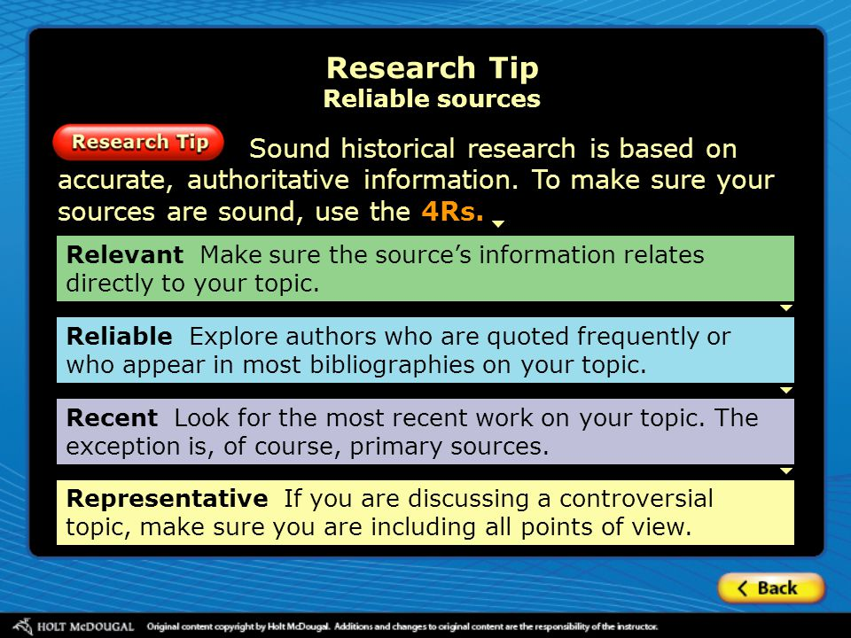 Research Tip Reliable sources