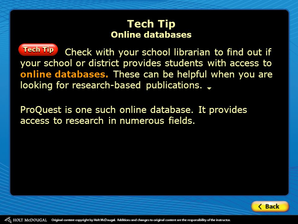 Tech Tip Online databases
