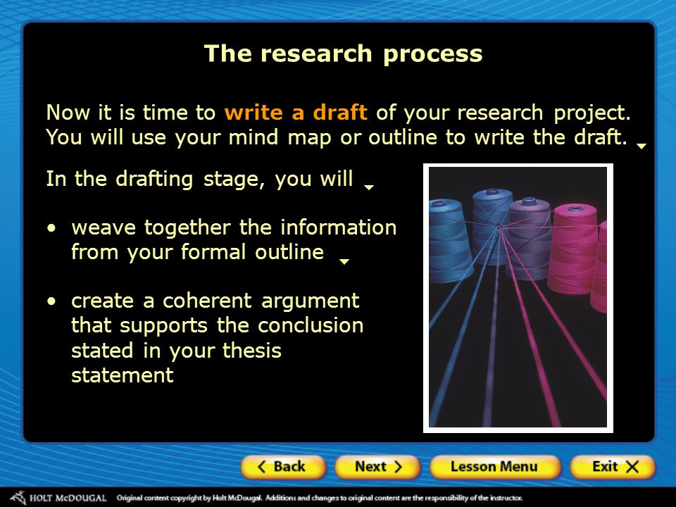 The research process Now it is time to write a draft of your research project. You will use your mind map or outline to write the draft.