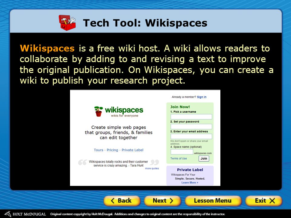 Tech Tool: Wikispaces