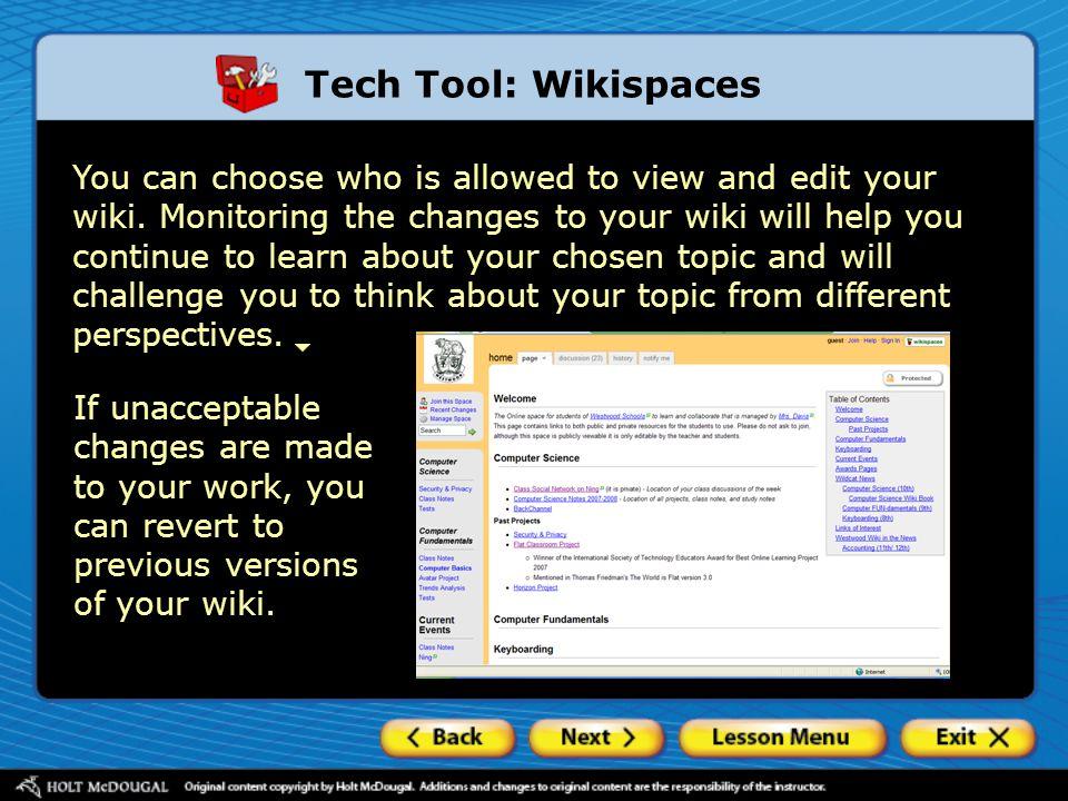 Tech Tool: Wikispaces