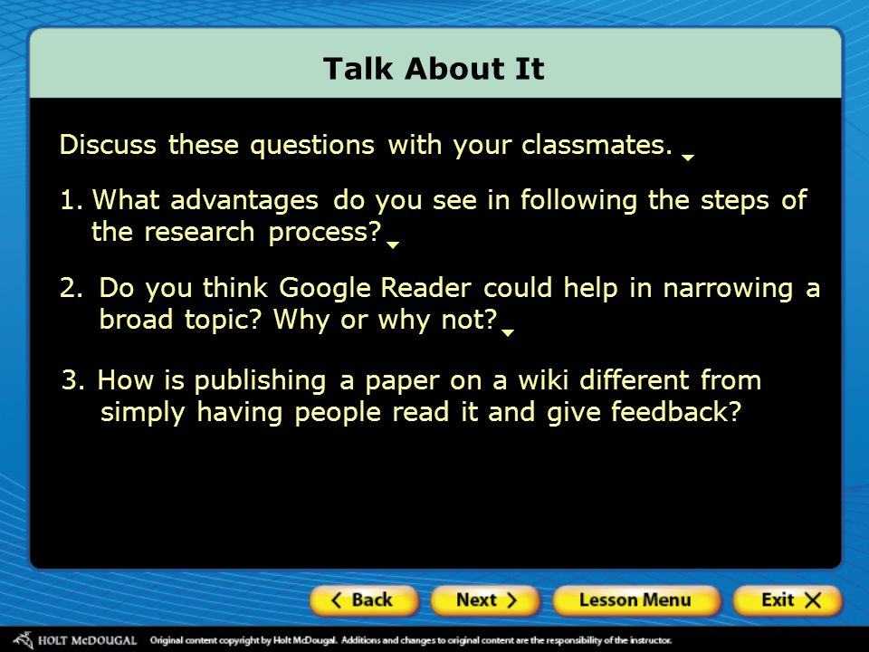 Talk About It Discuss these questions with your classmates.