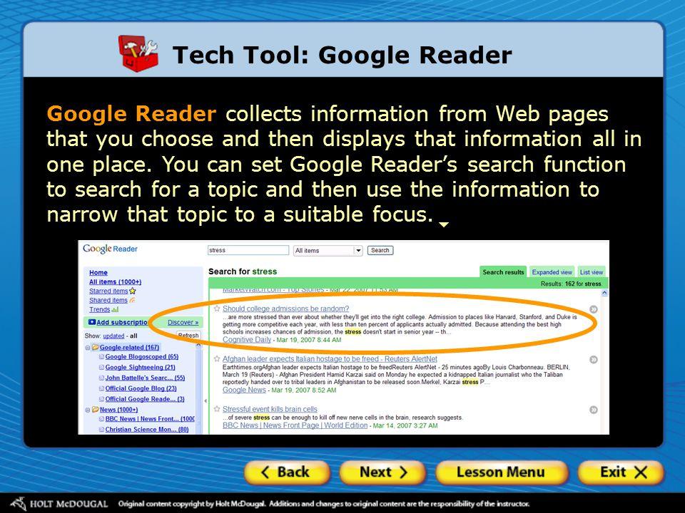 Tech Tool: Google Reader